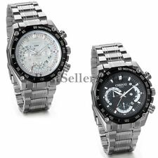 Stainless Steel Band Luxury Sport Dial Date Analog Quartz Army Mens Wrist Watch