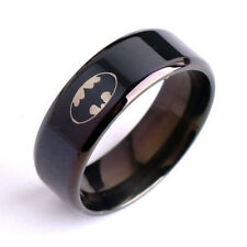 1Pc Men's Stainless Steel Bat Symbol Superhero Black Ring Fashion Size 16-22