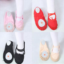 NEW CANVAS BALLET DANCE SHOES SLIPPERS Toddler-Adult Black Red Pink Nude 12SIZE