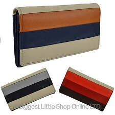 NEW Ladies Flap Over LEATHER PURSE/Wallet by Mala; Burchell Collection Stripes