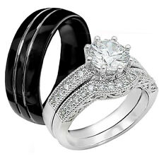 Hot 3 Pcs His Tungsten Hers Sterling Silver Engagement Wedding Ring Band Set