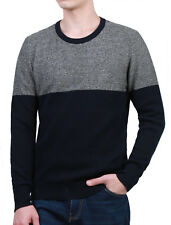 Men Crew Neck Long Sleeves Contrast Color Panel Design Knit Top