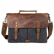 Canvas Genuine Leather CrossBody Laptop Messenger Bag Business Handbag/Briefcase