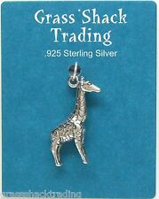 GIRAFFE 3D Solid Sterling Silver Pendant - Charm w/ Options #1822