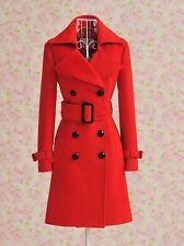 Double breasted belted  woolblend WarmTrench coat jacket plus1x-10x (16-52)G437