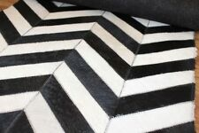 Handmade Natural Cowhide Leather Rug - Black & White Chevron