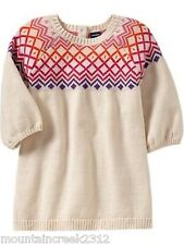New OLD NAVY Girl's Dress Size 0 3 months Fair Isle Sweater Knit Cotton