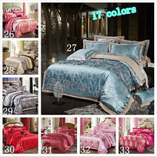 17# Queen/King Beauty Satin jacquard fabric bedding set Duvet Cover NO comforter