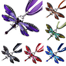 Womens Retro Fashion Dragonfly Pendant Necklace Chain Crystal Rhinestone Silver