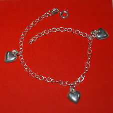 Sterling Silver 925 HEART Charms Cable Chain Adjustable BRACELET / ANKLET