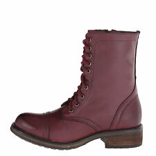 Steve Madden TROOPA 2-0 Wine Women's Leather Lace Up Combat Boots