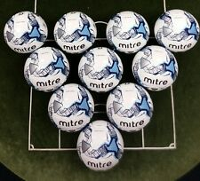 supplied inflated 10 x MITRE IMPEL TRAINING FOOTBALLS - WHITE/BLUE - Sizes 3,4,5