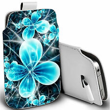 pu leather pull tab pouch case for various Mobiles - futuristic flower pouch