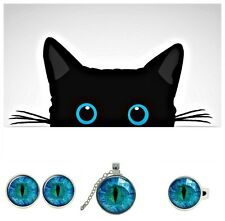 NEW FOR CAT LOVERS - Cute Handmade Silver Plated Cat Eye GLASS TILE ART Jewelry