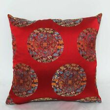 Red Lucky Bats Chinese Brocade Cushion Cover Made to Order S-L Size BRCC-909