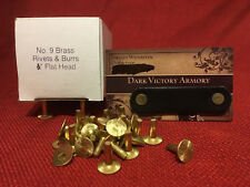 "Brass Belt Rivets & Burrs #9 - Made in USA 1/2"", 3/4"", 1"" Choice of Quantity SCA"