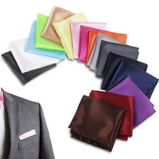 High Quality Men Satin Solid Plain Handkerchief Hanky Pocket Square Suit Wedding
