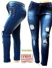 1826 WOMENS PLUS SIZE Distressed Rip Destroy BLUE DENIM JEANS Skinny PANTS J9011