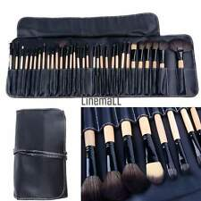 Wood Black 32Pcs Brush Brushes Professional Cosmetic Make Up Set Kit +Pouch LM