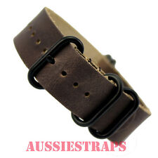 ZULU 5 ring VINTAGE GREY BROWN LEATHER  Black PVD military watch band strap