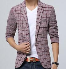 New Fashion Mens Winter Casual Plaid Slim fit One Button Suit Blazer Coat Jacket
