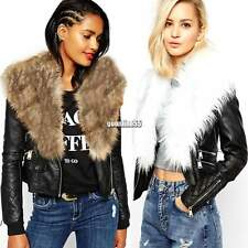 Women Vintage Style Faux Fur Collar Jacket Zip Up Faux Leather Biker Coat EA9