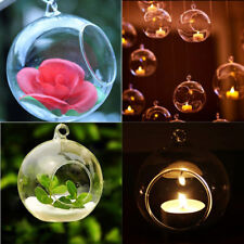 Crystal Glass Round Hanging Candle Tea Light Holder Candlestick Party Home Decor