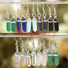 HOT Pair Vintage Gem Hook Healing Chakra Ear Dangle Earring Eardrop Jewelry Gift