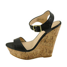 Bamboo Booth 12 Black Women's Open Toe Platform Wedge Sandals