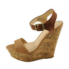 Bamboo Booth 12 Natural Women's Open Toe Platform Wedge Sandals