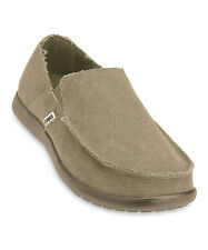 New Men's Crocs Santa Cruz Loafer Slip-ons Canvas Shoes SZ 8 Khaki Black