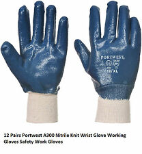 12 Pairs Portwest A300 Nitrile Knit Wrist Glove Working Gloves Safety Work Glove
