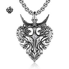 Silver dragon pendant swarovski crystal stainless steel necklace soft gothic