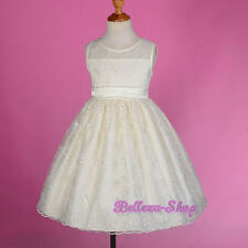 Ivory Embroidery Formal Occasion Dress Wedding Flower Girl Pageant 3T-6X  FG249