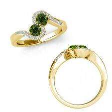 1.15 Ct Green Diamond Two Stone By Pass Crossover Solitaire Ring 14K Yellow Gold