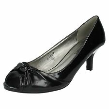 SALE LADIES SPOT ON SYNTHETIC KITTEN MID HEEL PEEP TOE COURT SHOES BLACK F1577