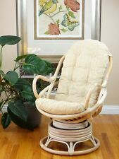 Java Handmade Design Rattan Wicker Swivel Rocking Chair with Thick Cushion