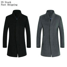 Mens Wool Blend Trench Coat Slim Fitted Mid Long Business Jacket Peacoat