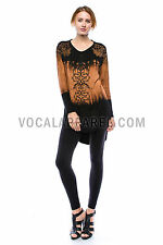 Vocal Black Jewels Stones Hi Lo Tie Dye Brown Dolmen Tunic Shirt Sexy M