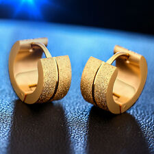 1Pair Fashion Gold/Silver Plated Stainless Steel Scrub Ear Clip Ear Stud Earring