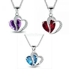 Charm Women Girl Heart Crystal Pendant Necklace Silver Chain Jewelry Rhinestone