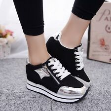 Lady's Canvas Sneakers Thick Sole Sports Trainers Sequin Footwear Lace Up Shoes