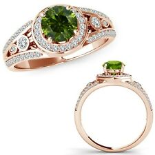 1.25 Carat Green Diamond Fancy Channel Halo Anniversary Band Ring 14K Rose Gold
