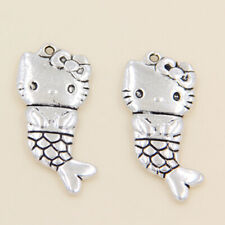 wholesale 6/26Pcs  Silver Plated Mermaid cat Pendant 33x15mm (Lead-Free)