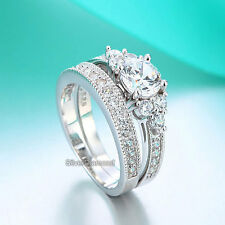 Fine 925 Sterling Silver Vintage Style Engagement Ring Set Simulated Diamond