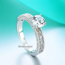 925 Sterling Silver Vintage Style Wedding Engagement Ring Simulated Diamond