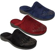 Womens Ladies New Faux Suede Diamante Luxury Slip On Mules Slippers Shoes 3-8