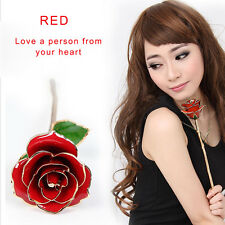 Gold Dipped & Plated 24K Real Long Stem Red Rose Flower Forever Decoration Gift