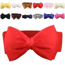 Women Cute Chiffon Bowknot Elastic Bow Wide Stretch Buckle Waistband Waist Belt