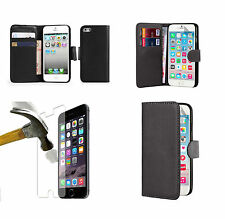 Flip Wallet Case Cover+Tempered Glass for Apple iPhone 4/4S/5S/5C/SE / 6s/6 Plus